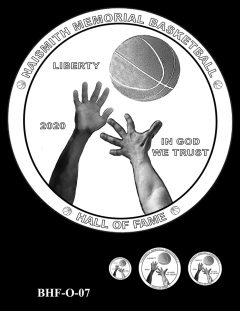 Obverse 2020 Basketball Coin Design Candidate BHF-O-07