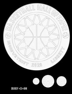 Obverse 2020 Basketball Coin Design Candidate BHF-O-08