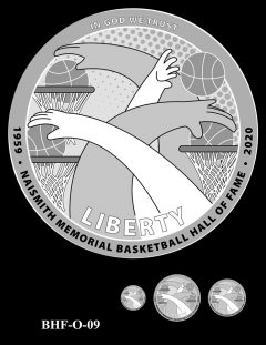 Obverse 2020 Basketball Coin Design Candidate BHF-O-09