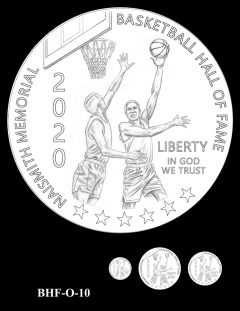 Obverse 2020 Basketball Coin Design Candidate BHF-O-10