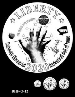Obverse 2020 Basketball Coin Design Candidate BHF-O-12