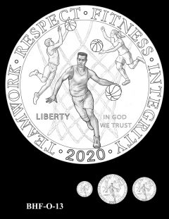 Obverse 2020 Basketball Coin Design Candidate BHF-O-13