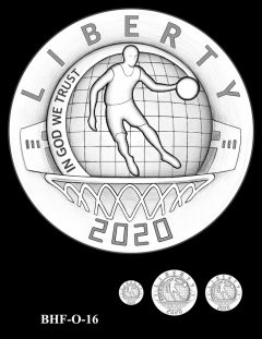 Obverse 2020 Basketball Coin Design Candidate BHF-O-16