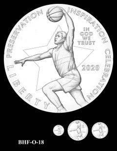 Obverse 2020 Basketball Coin Design Candidate BHF-O-18