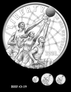 Obverse 2020 Basketball Coin Design Candidate BHF-O-19