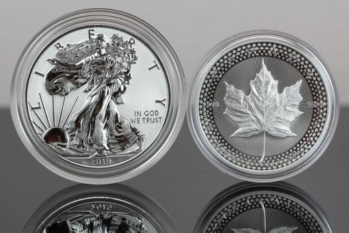 Photo of 2019-W Enhanced Reverse Proof American Silver Eagle and 2019 Modified Proof Canadian Silver Maple Leaf