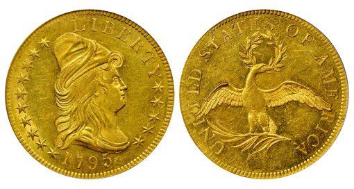 1795 Capped Bust Right Eagle. BD-3, Taraszka-3. Rarity-6. 9 Leaves. MS-63 (PCGS)