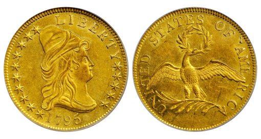 1795 Capped Bust Right Eagle. BD-4, Taraszka-4. Rarity-5. 13 Leaves. MS-62 (PCGS)