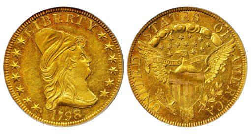 1798/7 Capped Bust Right Eagle. BD-2, Taraszka-10. Rarity-6-. Stars 7x6. AU-58 (PCGS)