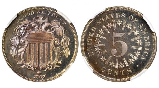 1867 Shield Nickel. Rays. NGC Proof-66 - Cameo