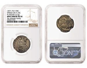 NGC Certifies 1871-75 Seated Liberty Half Dollar Struck On Quarter Planchet