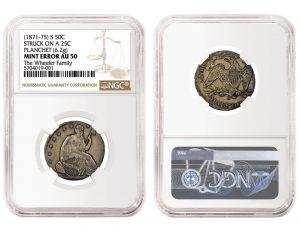 NGC Certifies 1871-75 Seated Liberty Half Dollar Struck On Quarter Planchet