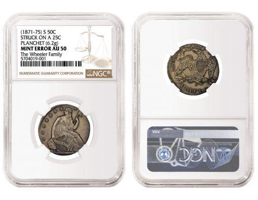 1871-75 Seated Liberty Half Dollar Struck On Quarter Planchet
