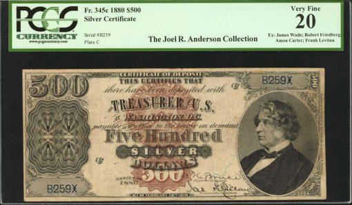 1880 $500 Silver Certificate of Deposit
