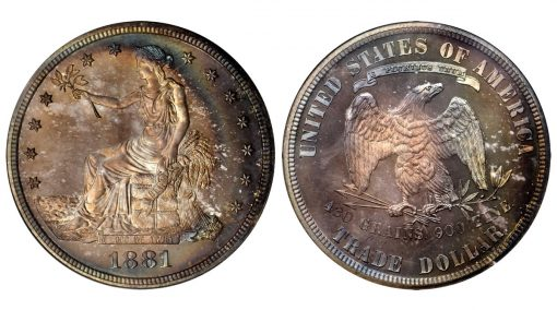 1881 Trade Dollar. Proof Proof-68 Cameo