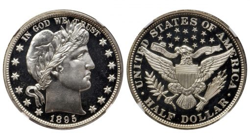 1895 Barber Half Dollar. NGC Proof-69 Cameo