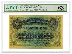 PMG Certifies Three Rare East African Currency Board Notes