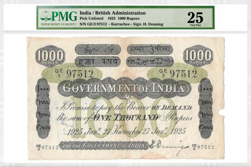 1925 British India 1000 Rupees Note Graded PMG 25 Very Fine
