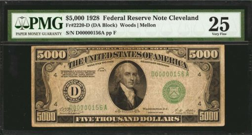 1928 $5000 Federal Reserve Note