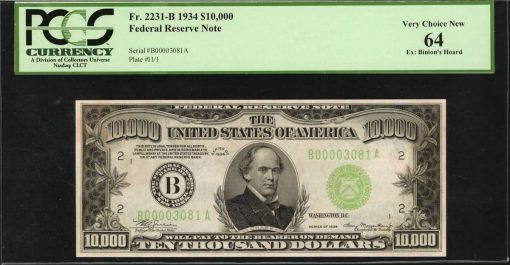 1934 $10,000 Federal Reserve Note