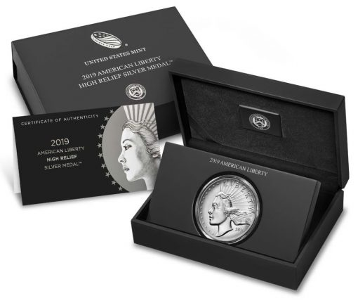 2019-P American Liberty High Relief Silver Medal - Packaging