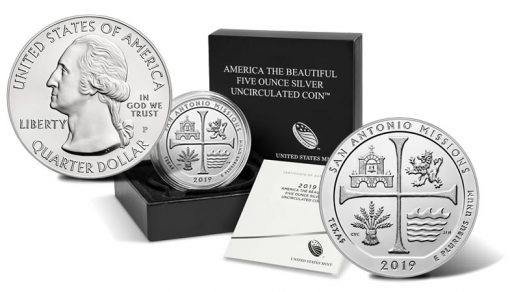 2019-P San Antonio Missions Five Ounce Silver Uncirculated Coin - Sides and Packaging