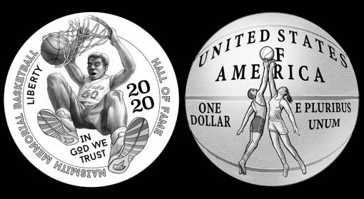 2020 Basketball Commemorative Coin Design Candidates BHF-O-02 and BHF-R-18
