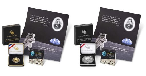 Apollo 11 50th Anniversary 2019 Proof $5 Gold Coin and Silver Dollar and Kennedy-Apollo 11 Intaglio Print