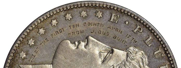 Close Up of One of the first 10 Morgan Dollars struck by the San Francisco Mint