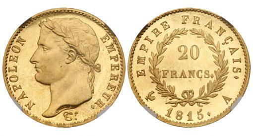 Napoleon 1815 proof 20 Francs
