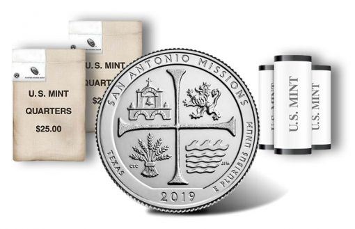 San Antonio Missions National Historical Park quarter, rolls and bags