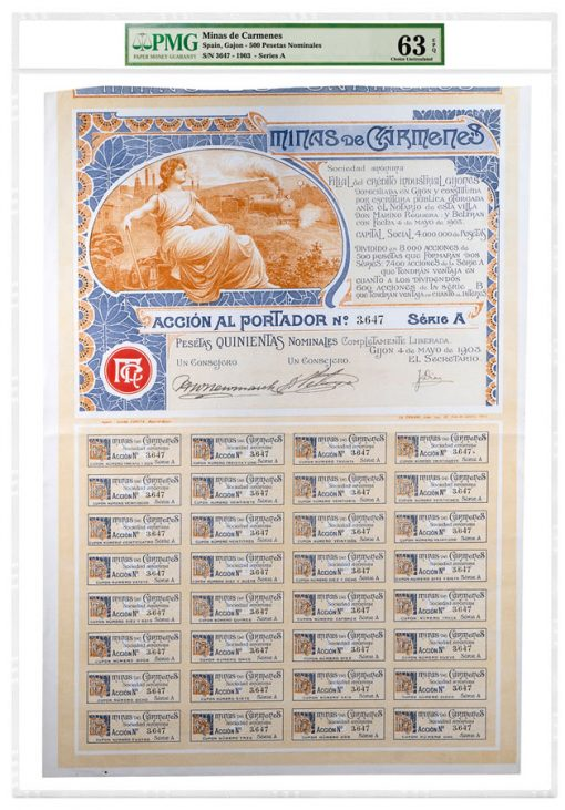 1903 Spain Gajon 500 Pesetas Nominales Minas De Carmenes Series A