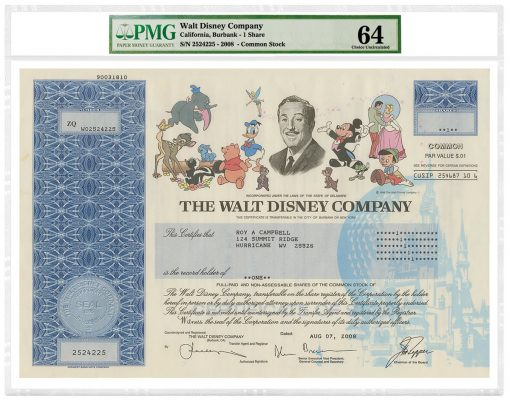 2008 Walt Disney Company Common Stock Certificate