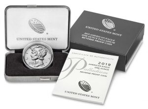 2019-W $25 Reverse Proof American Palladium Eagle - Coin, Case and Cert