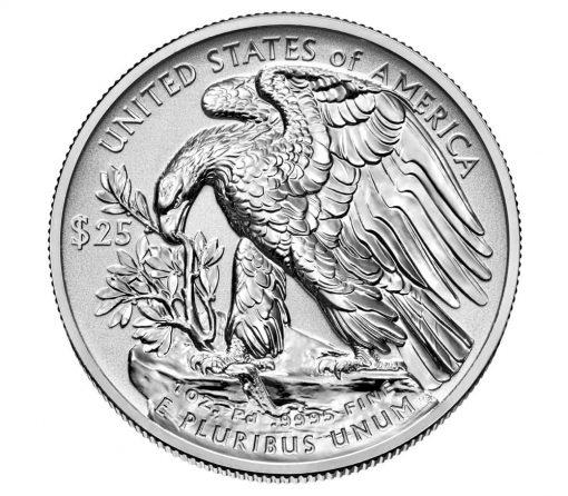2019-W $25 Reverse Proof American Palladium Eagle - Reverse Side
