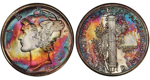 Lot 215. 10C 1939-D PCGS MS69 FB CAC realized $42,300