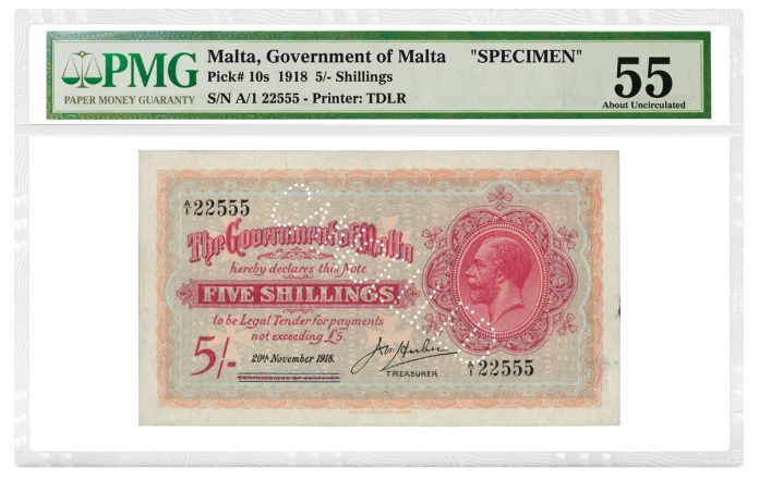 Malta 1918 5 Shillings Specimen graded PMG 55 About Uncirculated
