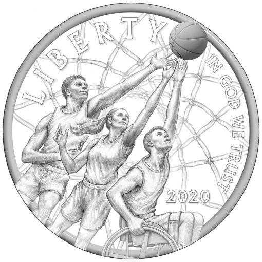 Obverse Design for 2020 Basketball HOF Commemorative Coins
