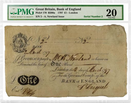 1797 Great Britain 1 Pound Bank of England SN 2 A Newland Issue