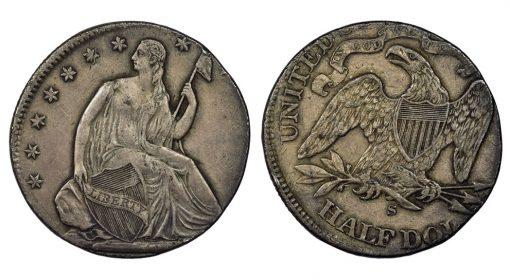 1871-75 S 50c Seated Liberty Error