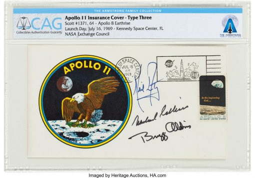 "Apollo 11 crew-signed ""Type Three"" insurance cover"