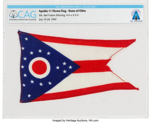 Apollo 11 Flown Flag of Neil Armstrong's Home State of Ohio