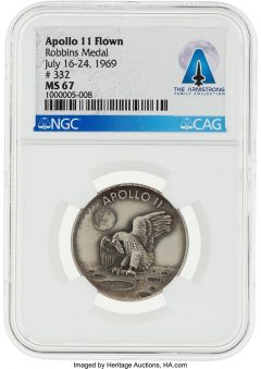 Apollo 11 Flown MS67 NGC Sterling Silver Robbins Medallion, Serial Number 332