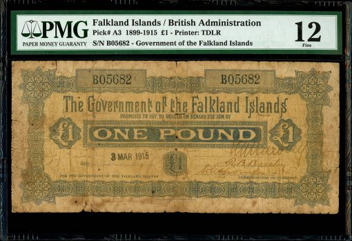 Falkland Islands pound note dated 1915