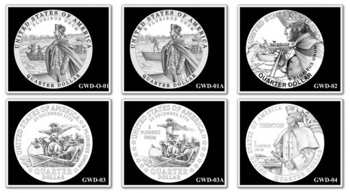 George Washington Crossing the Delaware River Quarter, Designs 1-4