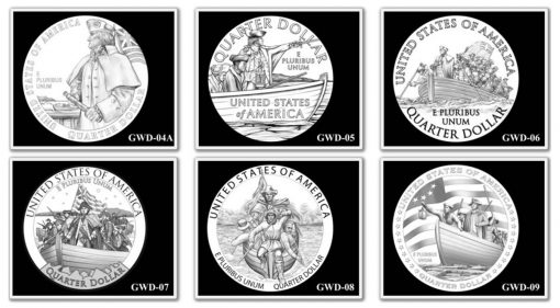 George Washington Crossing the Delaware River Quarter, Designs 4A-9