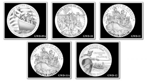 George Washington Crossing the Delaware River Quarter, Designs 9A-12