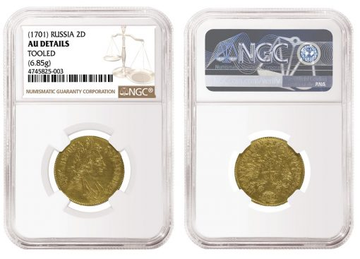 Russia 1701 2 Ducats graded NGC AU Details