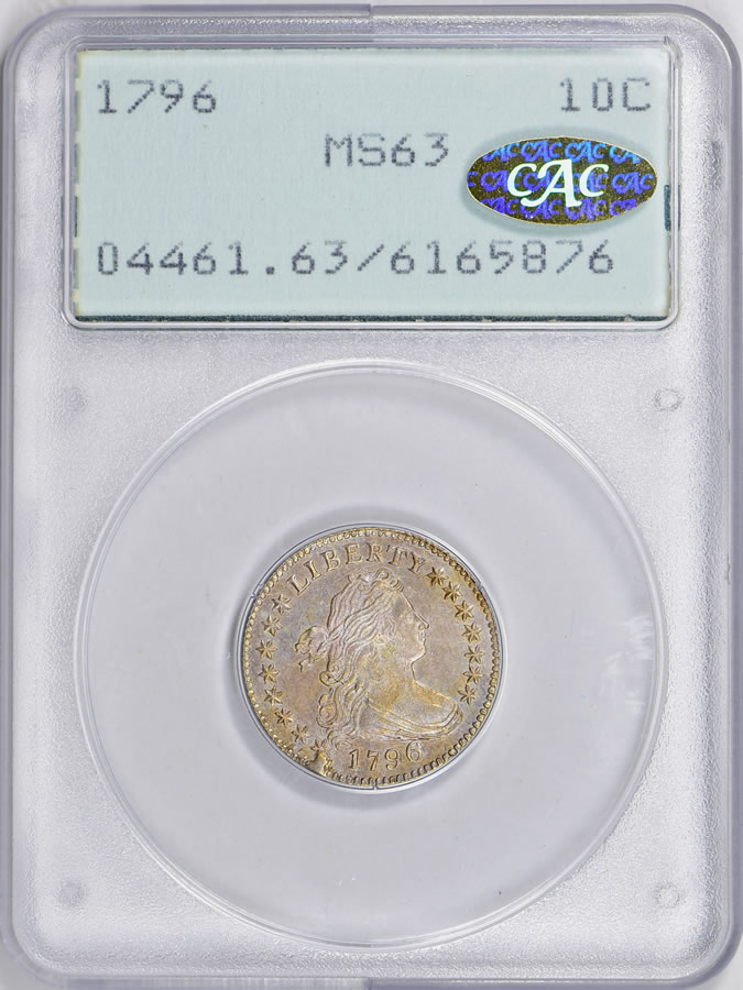 1796 Draped Bust Dime PCGS MS-63 (CAC Gold Label) OGH (1st Gen)