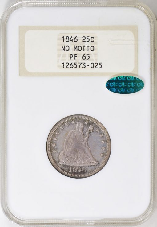 1846 Seated Liberty Quarter NGC Proof-65 CAC OH (Toned)